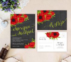 Rustic chalkboard wedding invitation sets   Poppy flowers wedding invitation printed   Red green black wedding cards by OnlybyInvite on Etsy