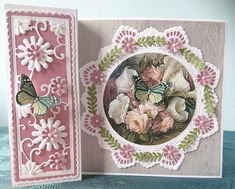 Fancy Fold Cards, Folded Cards, Marianne Design Cards, Spinner Card, Cards For Friends, Friend Cards, Easel Cards, Pretty Cards, Cool Cards
