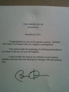 If you mail a wedding invitation to the president you get this back... Congrats from the U.S. President