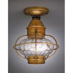 "Northeast Lantern Onion 11"" Socket Caged Semi Flush Mount Finish: Antique Brass, Shade Color: Clear Seedy"