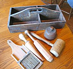 Antique utility box with various primitive assortment for sale at More Than McCoy on TIAS