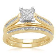 10k Yellow Gold Diamond Square Centre Bridal Ring Set (1/7 cttw, I-J Color, I2-I3 Clarity), Size 8