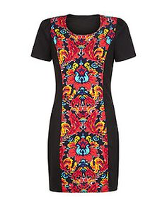 Madam Rage Black Abstract Print Panel Dress   New Look