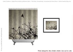 Shower Curtain Sepia Gray Cedar Waxwings Birds by CatinoCreations