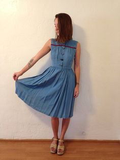 1930s blue silk day dress w/ red velvet trim & by LoyalVintage