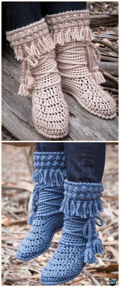 20 High Knee Crochet Slipper Boots Patterns to Keep Your Feet Cozy Crochet Mukluk Crochet Booties Paid Pattern- Crochet High Knee Crochet Slipper Boots Patrones Crochet Woman, Diy Crochet, Crochet Crafts, Crochet Projects, Crochet Slipper Boots, Crochet Slippers, Felted Slippers, Crochet Designs, Crochet Patterns