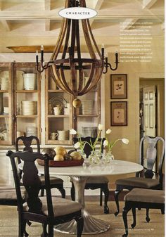 Silver pedestal table.  (Country Living)