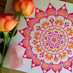 Mandala with color, pink and orange Mandala Painting, Mandala Drawing, Painting & Drawing, Mandala Doodle, Doodle Art, Design Mandala, Zentangle Patterns, Zentangles, Pen Art