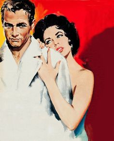 The key art graphic for the 1958 film CAT ON A HOT TIN ROOF, starring Paul Newman and Elizabeth Taylor