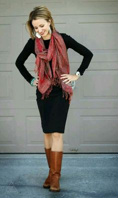 Black dress, brown boots and a red fringe scarf// what a great work outfit. Would love a black dress like this. Perfect length for dress code. Black Dress Outfits, Casual Outfits, Red Scarf Outfit, Fall Winter Outfits, Autumn Winter Fashion, Church Outfit Winter, Outfit Vestido Negro, Riding Boot Outfits, Riding Boots