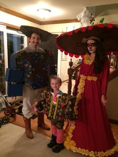 Joaquin, Manolo, and La Muerte costumes from The Book of Life