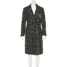 Pre-owned Chanel Metallic Tweed Coat (178.690 RUB) ❤ liked on Polyvore featuring outerwear, coats, black, metallic coat, tweed wool coat, chanel, tweed coats and colorful coat