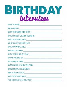 Printable Birthday Interview - for every birthday! Best Activities for Kids