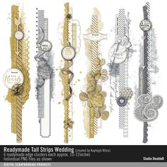 Readymade Tall Strips: Wedding bring on the bling with these border strips in gold and silver sparkle #designerdigitals