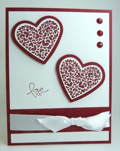 replace the hearts with one butterfly; use black & white theme; with sympathy instead of love.  Great card- 2 ways