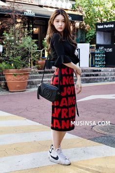 Korean Street Fashion | Korean Fashion Casual Outfit Long Skirt