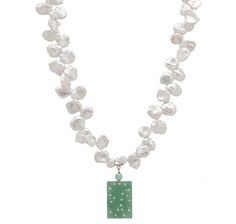Pearl Lustre 14K Yellow Gold Freshwater Keshie & Jade Necklace