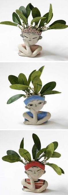'Pondering Planters' Are Ceramic Portraits Only Complete with Wild Plant Hairdos Keramik von Two Hold Studios Clay Projects, Clay Crafts, Diy And Crafts, Ceramic Pottery, Ceramic Art, Pottery Art, Flower Vases, Flower Pots, Decoration Plante