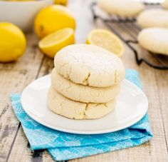 """Chewy Lemon Sugar Cookies (Sweetpeaskitchen). """"Soft and chewy in the middle with slightly crisp edges…just the way a sugar cookie should be!"""""""