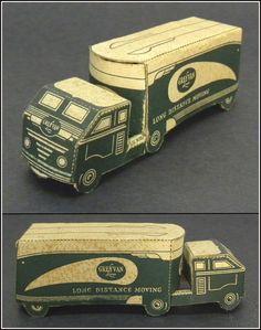 Grey Van Lines Long Distand Moving Van, Vintage Folded Paper Promo Toy Truck #GreyVanLinesLongDistanceMoving
