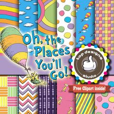 SALE Dr Seuss Digital Paper : Oh the places by Topdesignsstudio