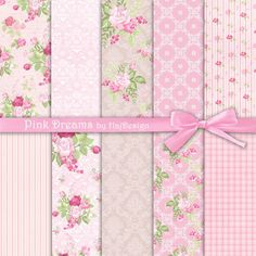 PINK DREAMS - Instant Download, Digital Paper, Scrapbook Paper, Decoupage Paper, Pink, Floral Paper, Roses, Shabby Chic Paper
