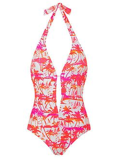 By Caprice Neon Pink 'Phoebe' Palm Print Swimsuit