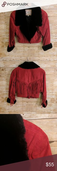 Lanna Suede Fringe Crop Jacket Vintage Inspired Lanna New York Women's Suede Crop Jacket * Great pre-owned condition * Some wear on inside at bottom (shown in photo) * Vintage inspired: 80s style * Suede * Fringe  * Faux Fur Trim  * Red  * One button closure * Shoulder pads * Size Small Lanna Jackets & Coats