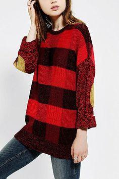 buffalo plaid tunic sweater