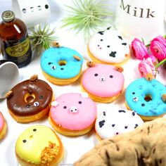 Half dozen of these too-cute-to-eat kawaii donuts, boxed, ribboned and…