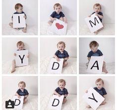 Zondag 18 juni is het zover: Vaderdag 2017. Tijd dus voor Tante Koek's coole, én goedkope, tips voor DIY cadeaus die zeker bij papa in de smaak zullen vallen! 1. Een origi Cute Fathers Day Ideas, First Fathers Day Gifts, Fathers Day Crafts, Diy Father's Day Gifts From Baby, Happy Birthday Papa, Baby Deco, Monthly Baby Photos, Baby Painting, Father's Day Diy