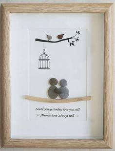 Pebble Art framed Picture Couple  Love
