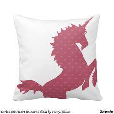 Girls Pink Heart Unicorn Pillow Cute heart patterned pink unicorn on white background throw pillow for girls room. One of our best sellers #unicorn #girlsroompillows #zazzle