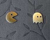 Brass Pac-Man earring set