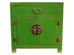 Handmade Wooden Small Green Cabinet