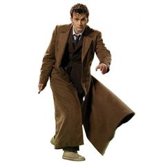 10th Doctor Brown Trench Coat via Polyvore featuring outerwear, coats, brown trenchcoat, brown wool coat, woolen coat, wool trench coat and brown coat