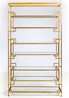 lamar 7 shelf etagere - gold leaf - by worlds away.