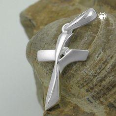 Anhänger, Kreuz mit Zirkonia Silber 925  matt-glänzend
