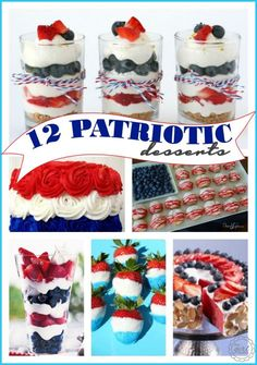 A fun round-up of red,white and blue patriotic desserts for Memorial Day and 4th of July. Great to bring to parties and BBQ's.