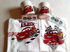 "Personalized t-shirt and mugs, hand painted ""Lightning Mc Queen""/ Tricou si cana personalizate, pictate manual "" Fulger Mc Queen"" Painted Mugs, Hand Painted, Greek Pattern, Ceramic Angels, Flower Stands, On October 3rd, Personalized T Shirts, Coffee Set, Christening"