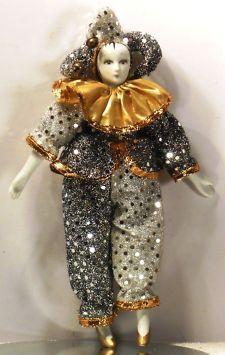 "vintage harlequin dolls | VINTAGE PIERROT CLOWN DOLL FIGURE 11"" PORCELAIN HEAD HANDS FEET GREAT ..."