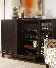 Garvey Antique Brass And Mirror 2 Door Bar Cabinet