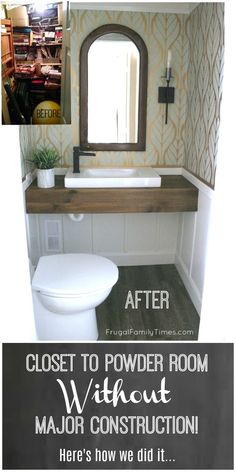 New Basement Bathroom: No Major Construction! How to Install a Powder Room with Saniflo Tiny Powder Rooms, Modern Powder Rooms, Basement Closet, Basement Bathroom, Remodel Bathroom, Basement Toilet, Bathroom Closet, Basement Walls, Home Design