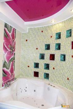 High Quality Colourful Glass Blocks In Bathroom Idea