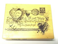 Rare PSX K-3239 Collage hearts rubber stamp script Valentines Love Wood mounted #PSX #ValentinesCollage