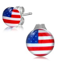 7mm Stainless Steel USA Flag Circle Stud Earrings pair PEE010