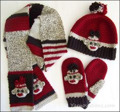 Sock Monkey Hat, Mittens and Scarves