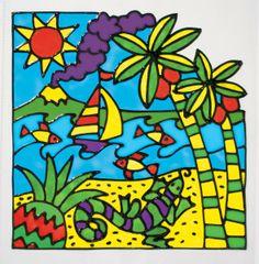Painted Window Art, Window Stickers, Scene, Yellow Things, Windows, Create, Gallery, Painting, Island