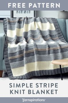 Free Knitting Pattern made with Bernat Softee Chunky yarn! This free Simple Stripe Knit Blanket Pattern is perfect for seasoned knitters or those new to the craft, this is a fun and easy project that has you working basic stitches and a fun to work border Loom Knitting Patterns, Afghan Crochet Patterns, Knitting Yarn, Free Knitting, Chunky Crochet Blanket Pattern Free, Knitting Stitches, Easy Crochet Blanket, Blanket Yarn, Knitted Baby Blankets