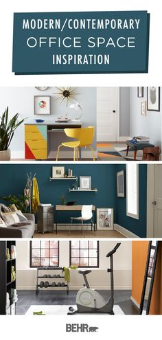 A new coat of Behr Paint is just what you need to give your home office, or home office turned gym, a colorful refresh. Check out these modern and contemporary office spaces for inspiration. Revamp your productivity with a modern, colorful makeover. Click below to learn more.